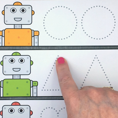 robot shape tracing for preschool and kindergarten