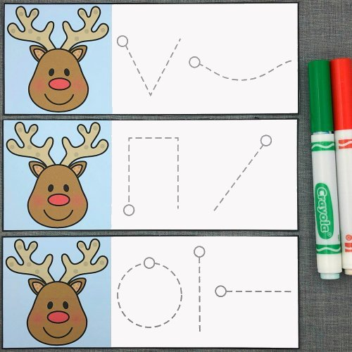 reindeer writing skills for preschool and kindergarten