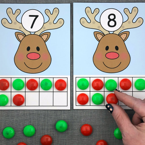 reindeer ten frames for preschool and kindergarten
