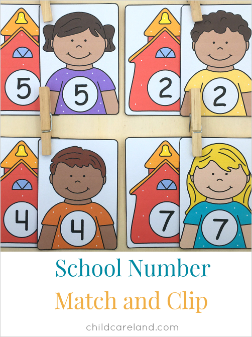school number match and clip for preschool and kindergarten