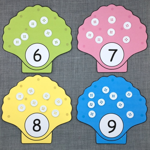 sea shell math for preschool and kindergarten