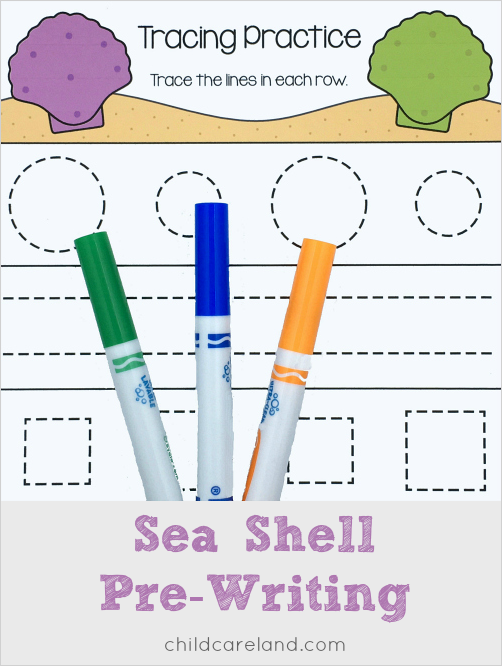 sea shell pre-writing for preschool and kindergarten