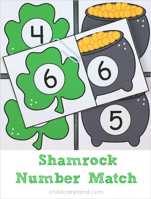 shamrock number match for preschool and kindergarten
