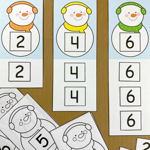snowman number cut and paste for preschool and kindergarten