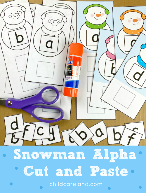snowman alpha cut and paste for preschool and kindergarten