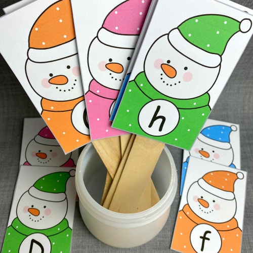 snowman letter sequence for preschool and kindergarten