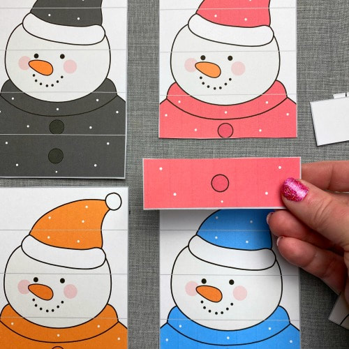 snowman color puzzles for preschool and kindergarten