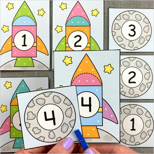 space number match and clip for preschool and kindergarten