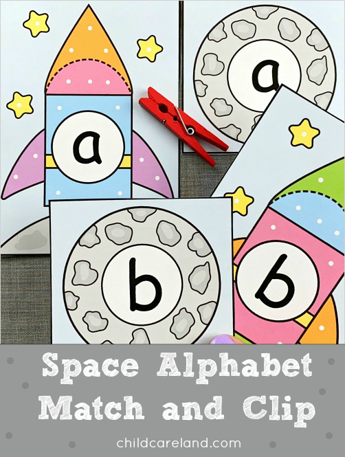 space alphabet match and clip for preschool and kindergarten
