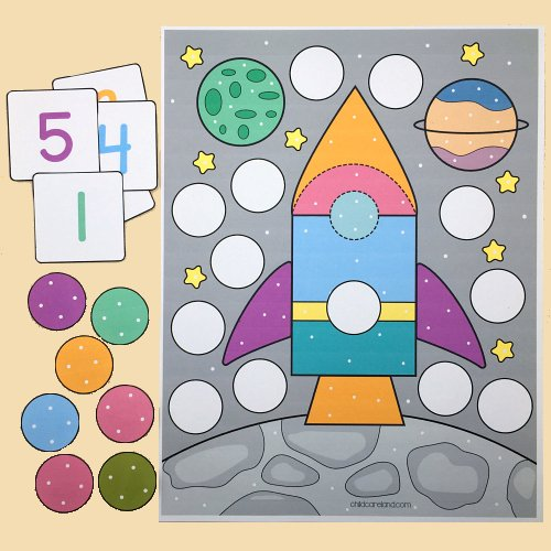 Space Count and Cover for preschool and kindergarten