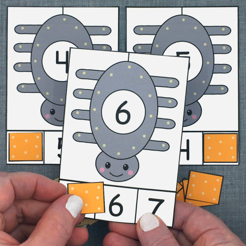 spider number clip for preschool and kindergarten