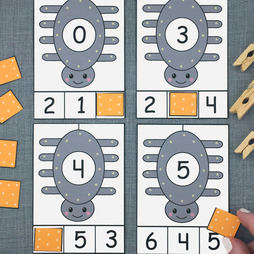 spider number clip cards for preschool and kindergarten