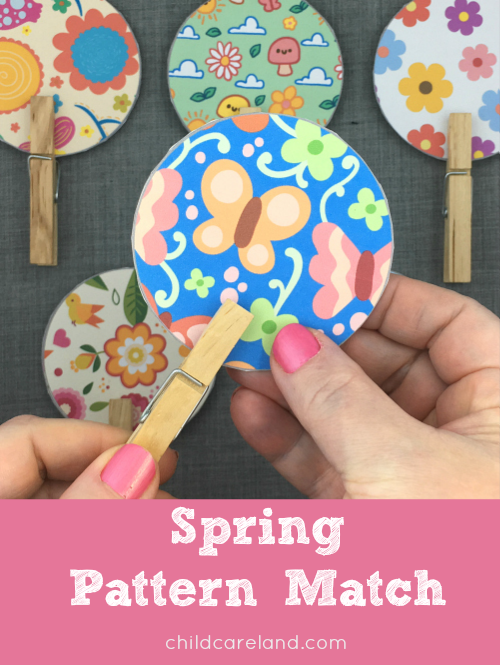 spring pattern match for preschool and kindergarten