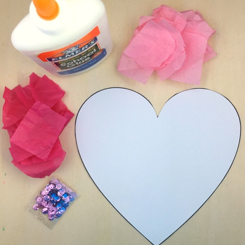 tissue paper heart craft project for preschool and kindergarten