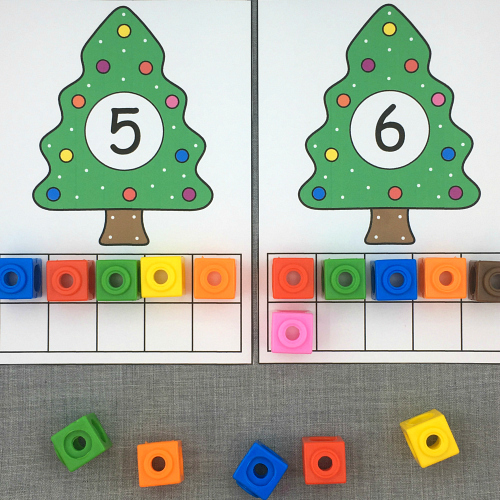 holiday tree ten frames for preschool and kindergarten