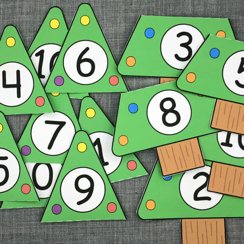 holiday tree number puzzles for preschool