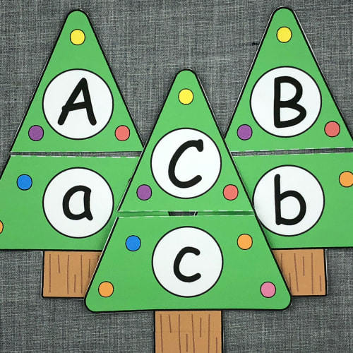 holiday tree alphabet puzzles for preschool and kindergarten