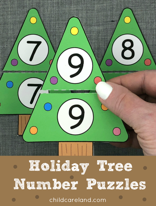 holiday tree number puzzles for preschool and kindergarten