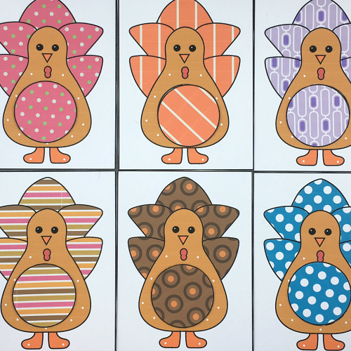 turkey pattern match for preschool and kindergarten